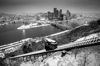 Pittsburgh winter wonderland with the Duquesne Incline in black and white