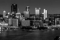 Pittsburgh Moonrise Black and White