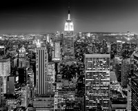 Empire State Building at night in Black and White