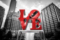 Black and White and Red Love Philadelphia Statue