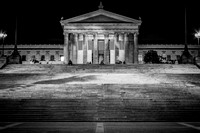 Black and White Rocky Steps with Philadelphia Museum of Art