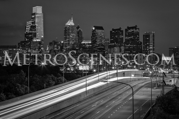 Philadephia Skyline Black and White
