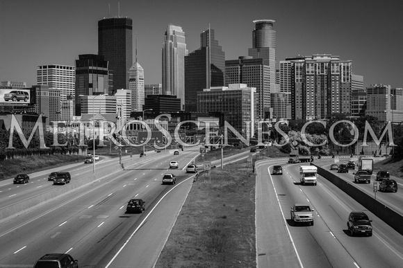 Minneapolis Skyline Black and White