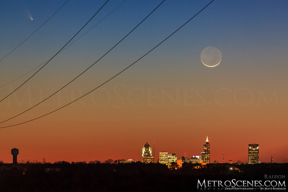 Comet Panstarrs with crescent moon and downtown Raleigh