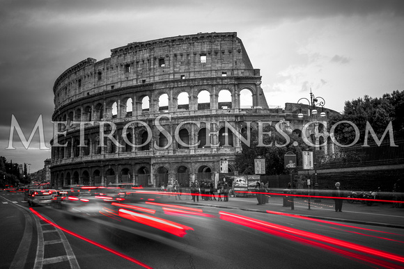 Colosseum Rome Black and White and Red