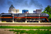 Norfolk and Western 611 with the downtown Greensboro, NC skyline