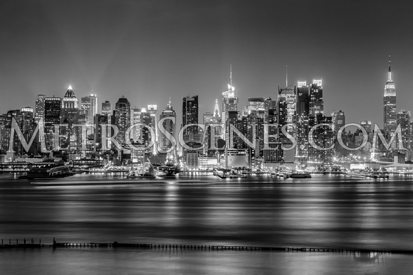 New York Skyline from Weehawken, NJ Black and White