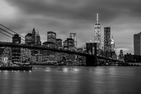 Brooklyn Bridge One World Trade Center Black and White